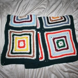 "Vintage Crocheted Throw Blanket 40"" x 40"""
